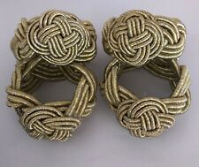 Set of 4 John Lewis Gold Rope Love Knot Cord Napkin Rings