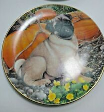 Pug Dog Collectible Plate - Fall Collections By Simon Mendez - Lot of 2