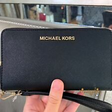 6f7c855c4ea0 Michael Kors Jet Set Travel Large Flat Multifunction Phone Case Wallet Black