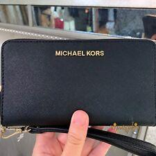 84405bfac27c Michael Kors Jet Set Black Saffiano Leather Large Flap MF Phone Case  Wristlet