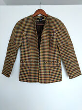BODY BY VICTORIA JACKET brown checked wool Size4 UK8 See measurements VGC