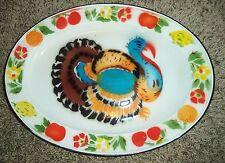 "Antique Primitive BIG 17""Graniteware Turkey PLatter Tray Christmas Thanksgiving"