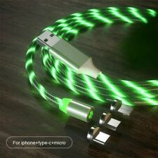 3 in1 (6.6ft) USB Charger Cable Green LED Flowing Magnetic.