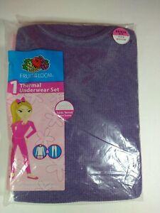 Girls Thermal Underwear Set Waffle Knit XS Shirt Long Johns Fruit of the Loom
