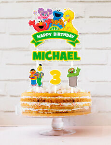 SESAME STREET ST ELMO COOKIE MONSTER 1ST PERSONALISED CAKE TOPPER BANNER PARTY