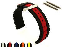 Two-colour Silicone Rubber Waterproof Watch Strap Band FORTE SS.Buckle, Bars