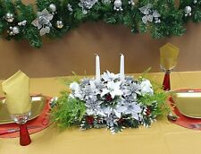 Artificial Christmas Table Centrepiece White Poinsettias Roses Berry Holly Ivy 4