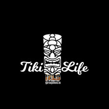 TIKI LIFE vinyl Sticker Ocean Diving Salt Water Palm Trees Collectible Drink