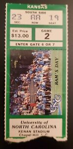 North Carolina Kansas Football Ticket Stub 11/10 1984 Ethan Horton Mike Norseth
