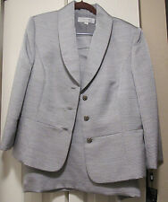 NEW $320 TAHARI LUXE 2PC SKIRT SUIT SIZE 14 SILVER  JACQUARD