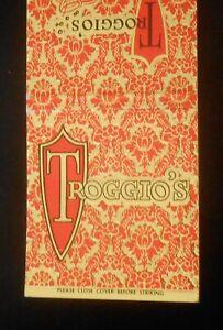 1960s Troggio's A New Concept in Dining Lee A. Troggio Butler Road New Castle PA
