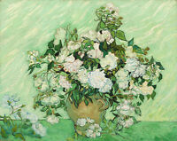 Canvas Wall Art Print Home Decor Van Gogh Painting Repro White Rose Pic Framed
