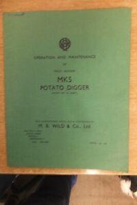 wild bucher mk 5  potato digger instructions & parts list book vintage antique