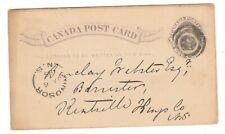 SPLIT RING CANCEL WINDSOR NOVA SCOTIA ON CANADA POST CARD  1885