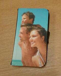 PERSONALISED PU Leather Wallet Phone Case Cover CUSTOM PRINTED with your picture