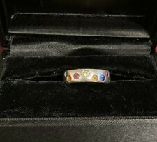 Gemstones. Size 6. Silver Band. Handmade Ring with 9 Semi-Precious Colored