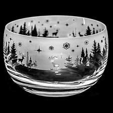 Animo Glass Winter Wonderland Small Engraved Crystal Bowl Christmas Decor Gift