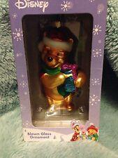 Walt Disney WINNIE THE POOH  Bear Glass Blown CHRISTMAS ORNAMENT/New in Box