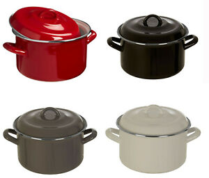3.7 Litre Casserole Stockpot Enamel Stew Soup Dish With Handles Non Stick New
