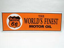 "Vintage Style 16.5"" x 7"" Metal Tin Porcelain Enamel Phillips 66 Motor Oil Sign"