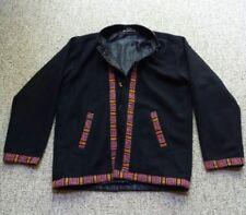 VTG Womens Black Wool Native American Trim Jacket Wood Keg Button Tribal Coat S