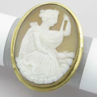 Antique Victorian Gold GF Carved Shell Cameo Goddess Artemis Brooch Pin