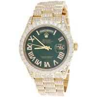 18K Gold 36mm Rolex President Day-Date 18038 Diamond Watch Green Dial 15.11 CT.