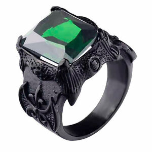 Big Red CZ Stone Dragon Claw Vintage Jewelry Stainless Steel Punk Men Boys Ring