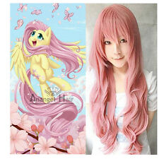 My Little Pony Fluttershy Wig Costume Synthetic Hair Pink Long Wavy Cosplay Wigs