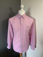 Men's Size Medium Vintage LACOSTE Shirt Long Sleeve Pink Stripe Smart Shirt