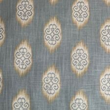 Tribal Ikat Blue Gold Linen Exclusive Designer Upholstery Fabric By The Yard