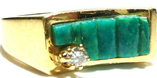 SIGNED NATIVE AMERICAN 14K YELLOW GOLD TURQUOISE & DIAMOND MENS WOMENS RING SZ 8
