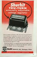 1961 Shurhit Tru-Turn Voltage Regulator Print Ad World's Finest Ignition