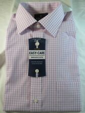 NWT STAFFORD EASY CARE BROADCLOTH DRESS SHIRT 15 1/2  32-33, Fitted,Purple Check
