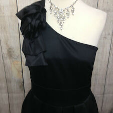 NEW - Stunning Black Satin WAREHOUSE One Shoulder Dress Size 12