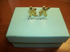 Authentic Tiffany & Company Large 18k Gold X style Earrings
