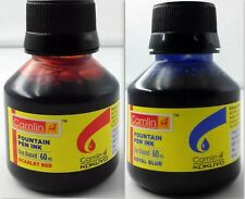 2 Camel Fountain Pen Ink RED BLUE Bottles 60 ml 2 oz Camlin 2 qty New Sealed