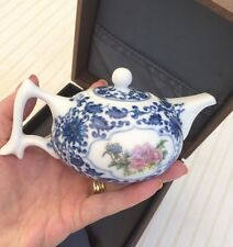 Miniature Japanese Chinese Blue And White Bone China Tea Pot In Presentation Box