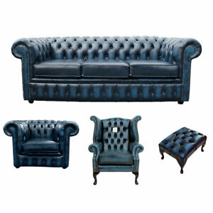 New Chesterfield Sofa 3 2 Seater Genuine Leather Settee Couch Antique Blue