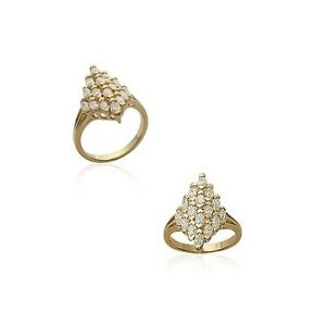 Ring Marquise Set Zirconium Gold Plated Old Style New Size 62