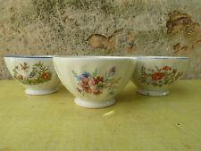 Lot de 3 ancien bols en céramique à décor de fleur, d'oiseaux,... art populaire