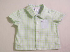Tommy Hilfiger Light Blue Light Green White Plaid Shirt, 3-6 mos.