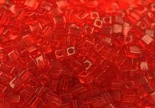 100 MIYUKI CUBE BEADS TRANSPARENT RED 4MM