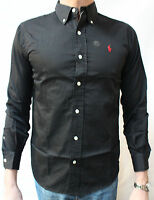 Genuine Polo Ralph Lauren Mens Custom Fit Shirt Black L/S Long Sleeve Bnwt New