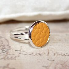 Cute Silver plated/faux leather adjustable ring Mustard Yellow