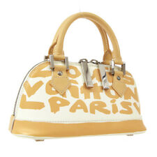 LOUIS VUITTON GRAFFITI ALMA BB HAND BAG BEIGE LEATHER M92178 BA0031 A50933