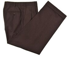 Brioni Cannes Solid Brown FLANNEL Wool Mens Luxury Dress Pants 32