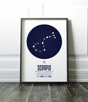 Zodiac Star Signs Print / Picture Scorpio / Modern / Minimalist Wall Art