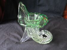 STOURBRIDE 19TH CENTURY  GLASS TULIP FORM POSY VASE ,TITED GREEN OPALESENCE,