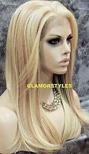 Straight Bleach Blonde Mix Human Hair Blend Lace Front Full Wig Hair Piece 61327